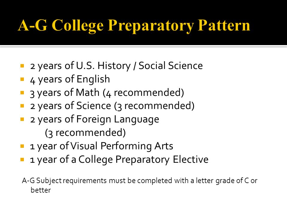 A-G College Preparatory Pattern