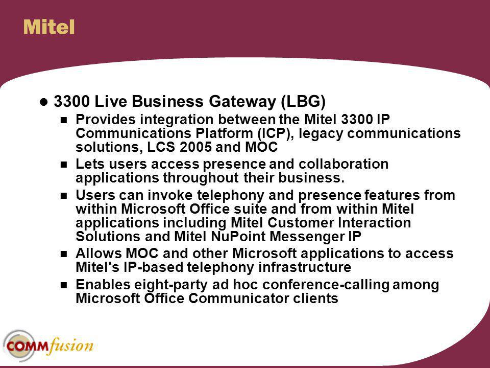 Mitel 3300 Live Business Gateway (LBG)