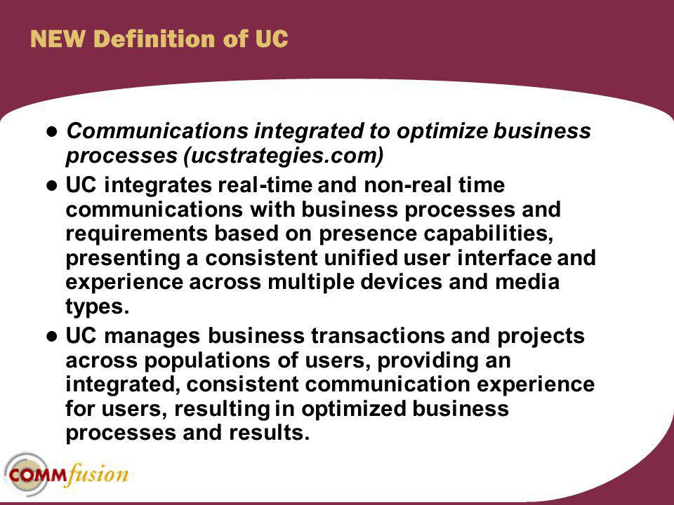 NEW Definition of UC Communications integrated to optimize business processes (ucstrategies.com)