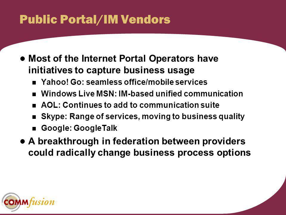 Public Portal/IM Vendors
