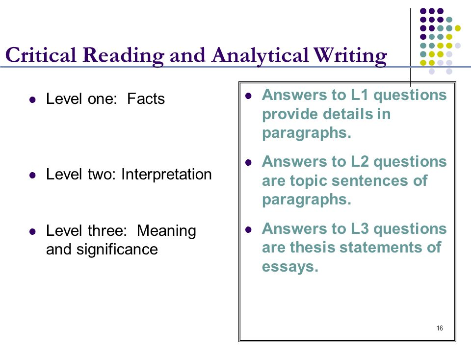 Critical Reading and Analytical Writing