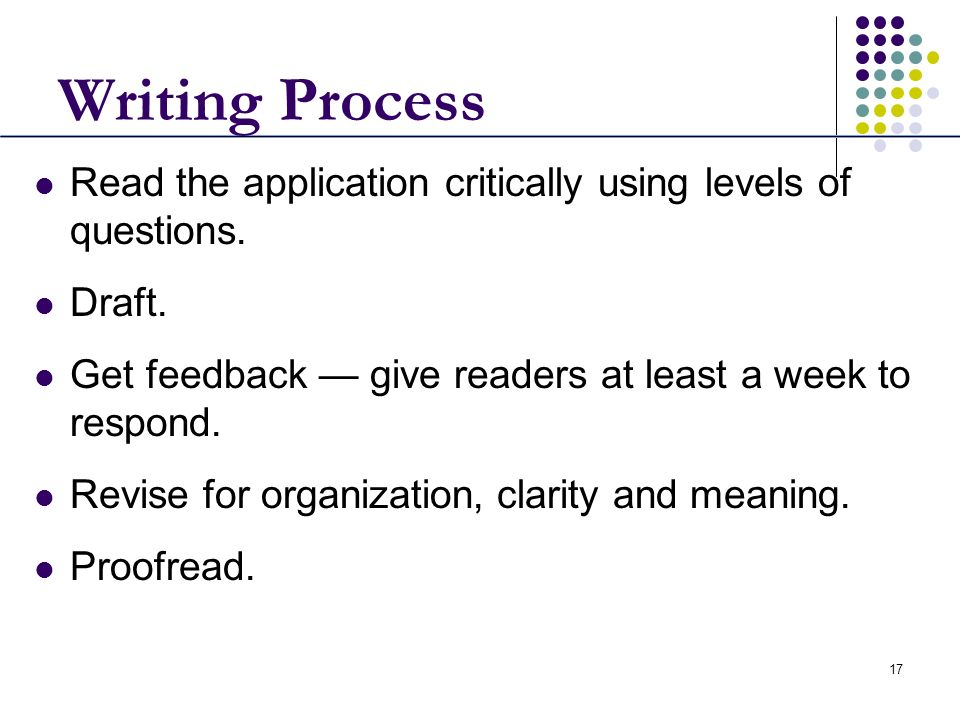 Writing ProcessRead the application critically using levels of questions. Draft. Get feedback — give readers at least a week to respond.