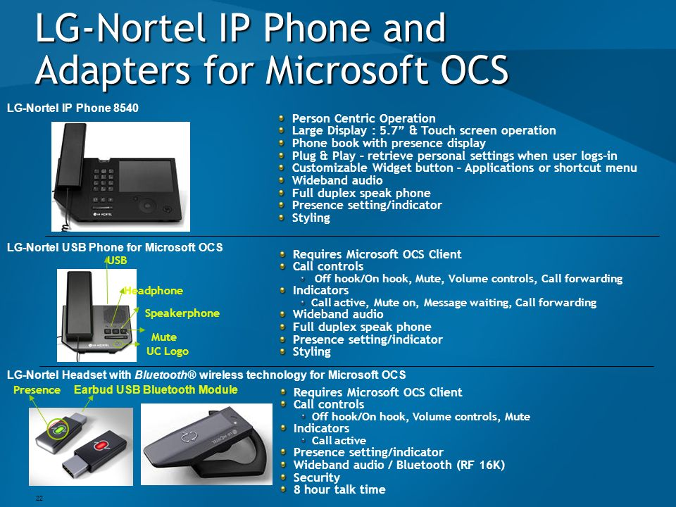 LG-Nortel IP Phone and Adapters for Microsoft OCS