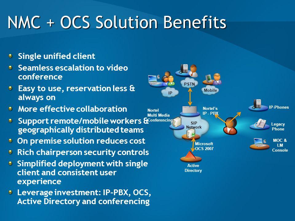 NMC + OCS Solution Benefits
