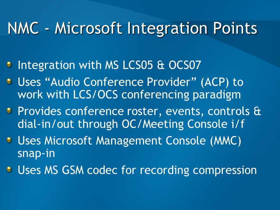 NMC - Microsoft Integration Points