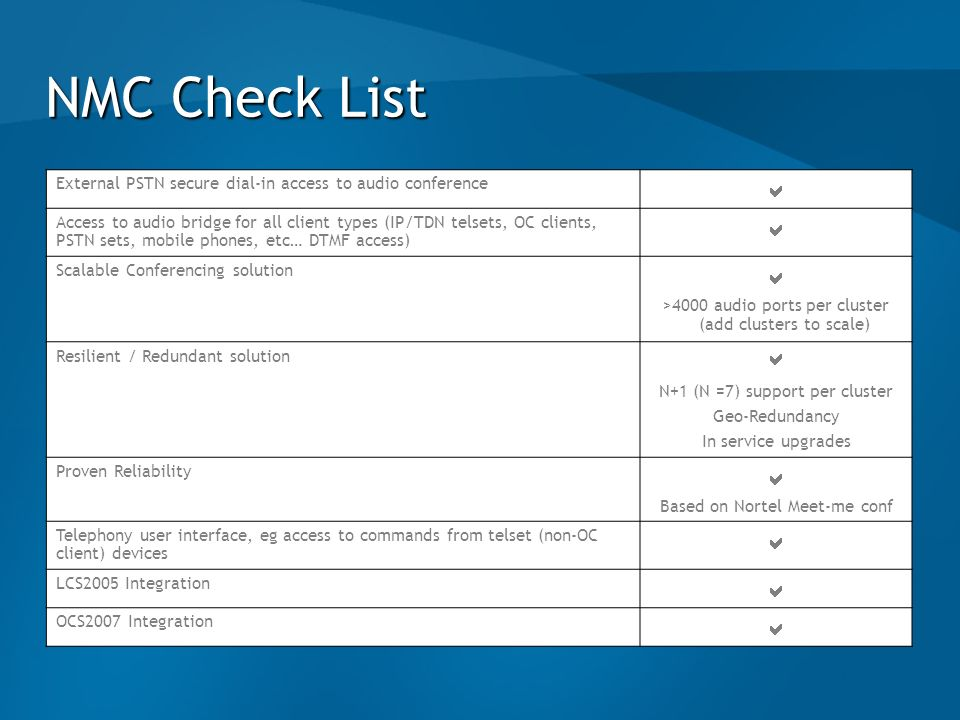 NMC Check ListExternal PSTN secure dial-in access to audio conference. a.