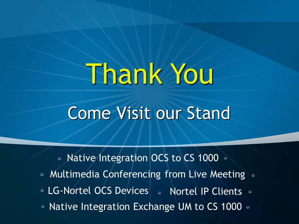 Thank You Come Visit our Stand Native Integration OCS to CS 1000