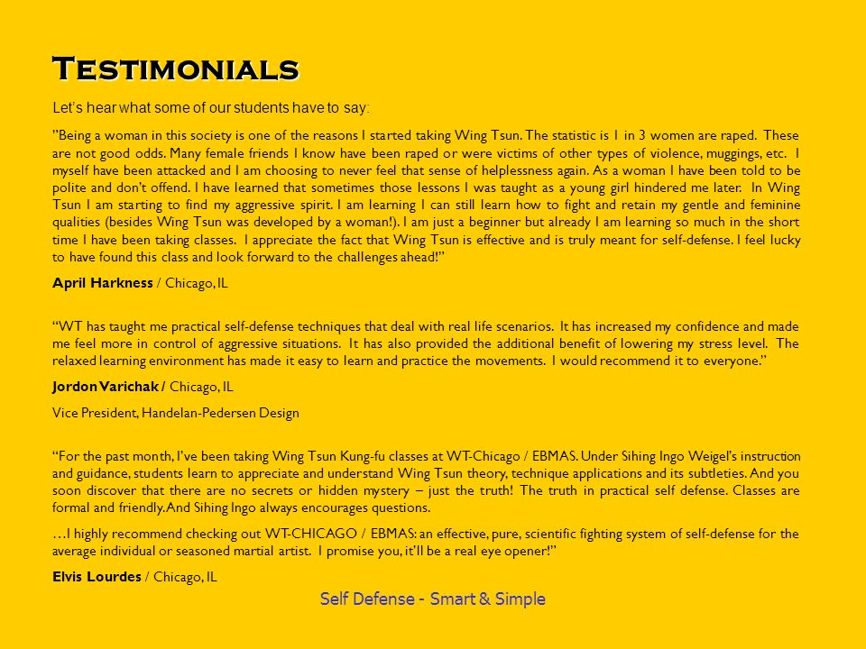 Testimonials Let's hear what some of our students have to say: