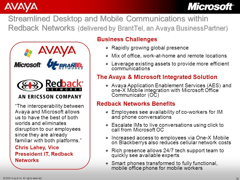 Streamlined Desktop and Mobile Communications within Redback Networks (delivered by BrantTel, an Avaya BusinessPartner)