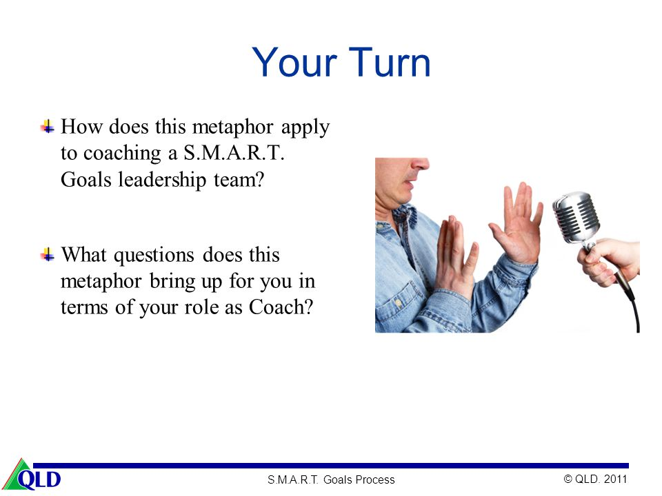 Your Turn How does this metaphor apply to coaching a S.M.A.R.T. Goals leadership team