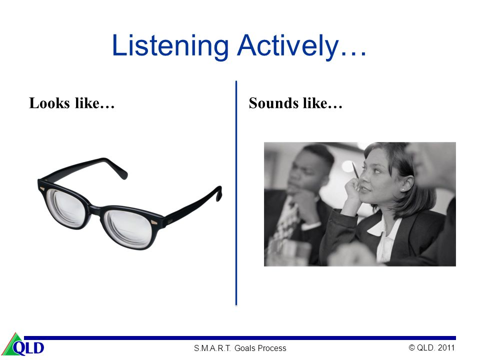 Listening Actively… Looks like… Sounds like…