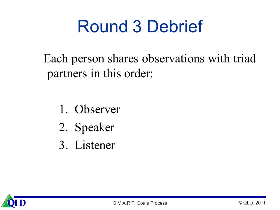 Round 3 Debrief Each person shares observations with triad partners in this order: Observer. Speaker.