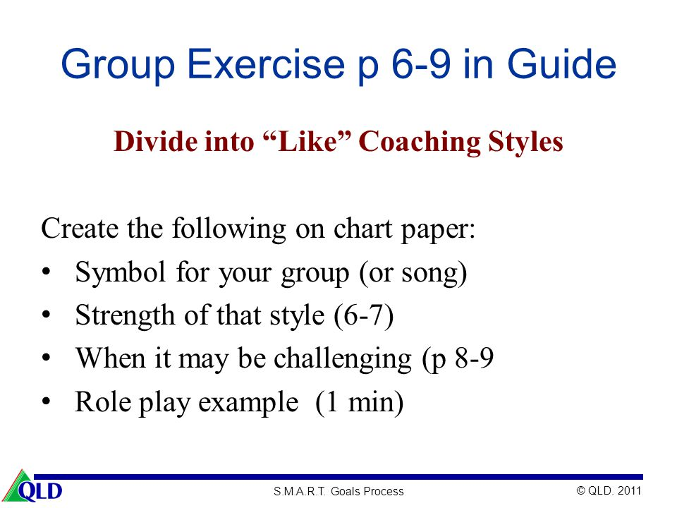 Group Exercise p 6-9 in Guide