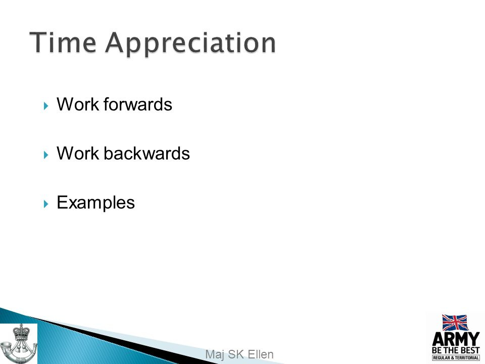 Time Appreciation Work forwards Work backwards Examples