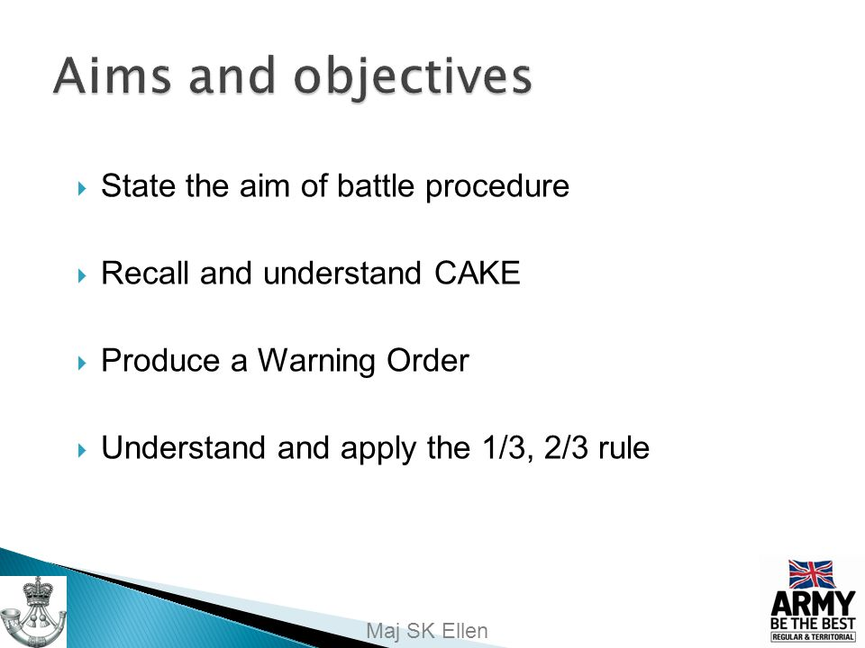 Aims and objectives State the aim of battle procedure