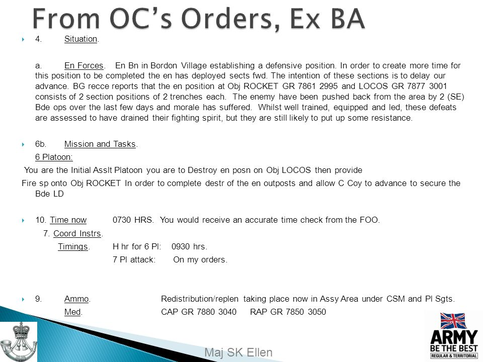 From OC's Orders, Ex BA 4. Situation.