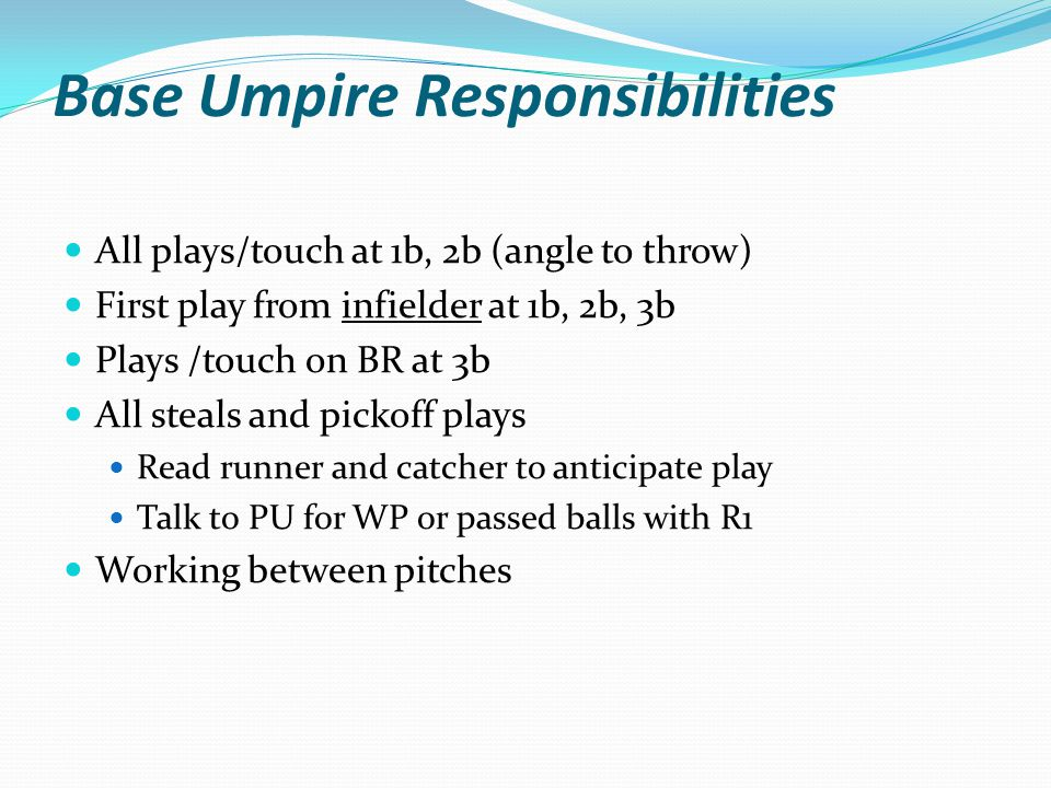 Base Umpire Responsibilities