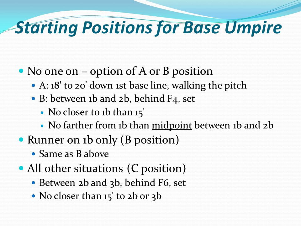 Starting Positions for Base Umpire