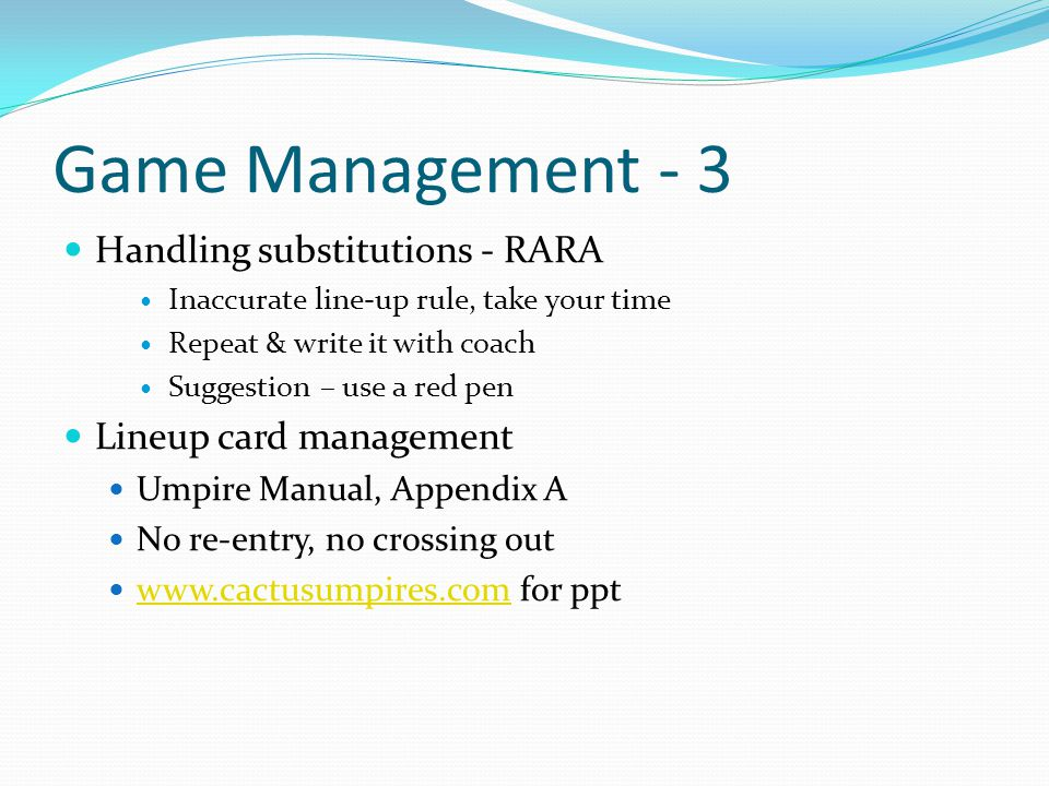 Game Management - 3 Handling substitutions - RARA
