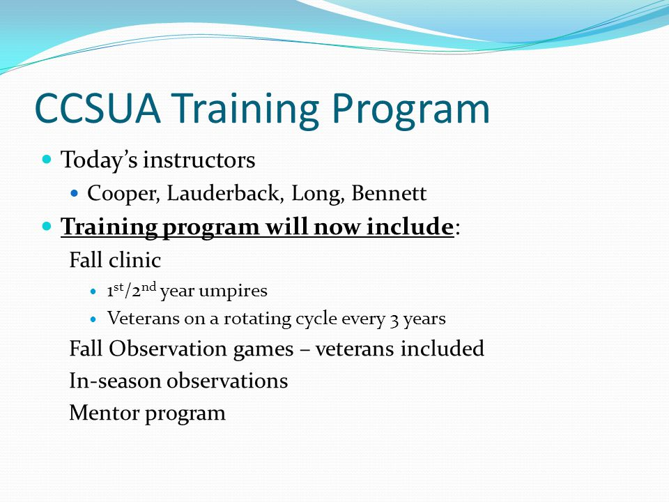 CCSUA Training Program