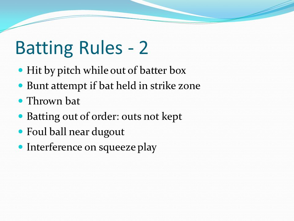 Batting Rules - 2 Hit by pitch while out of batter box