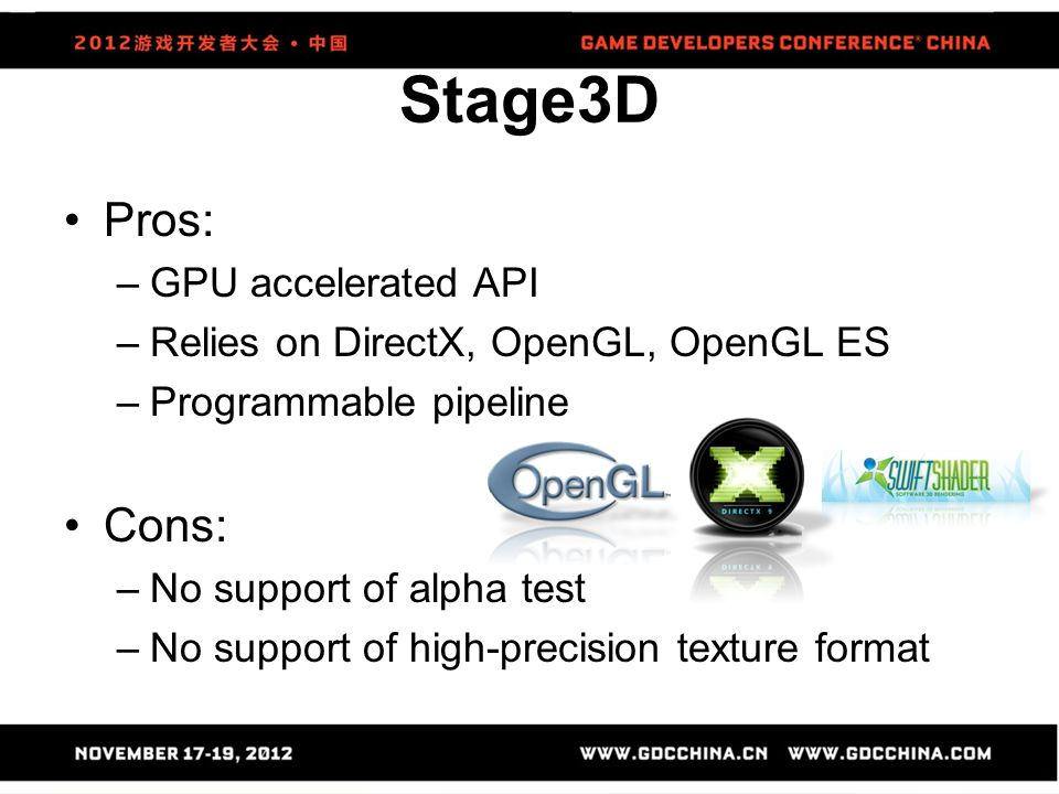 Stage3D Pros: Cons: GPU accelerated API