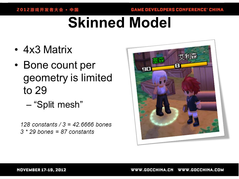 Skinned Model 4x3 Matrix Bone count per geometry is limited to 29