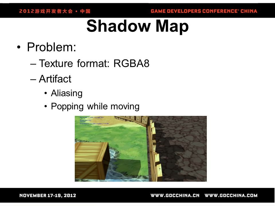 Shadow Map Problem: Texture format: RGBA8 Artifact Aliasing