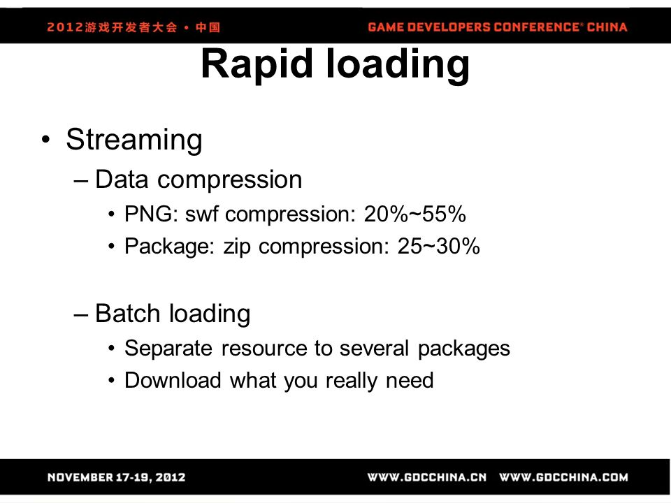 Rapid loading Streaming Data compression Batch loading
