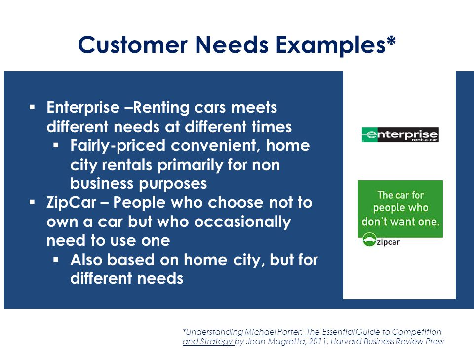 Customer Needs Examples*