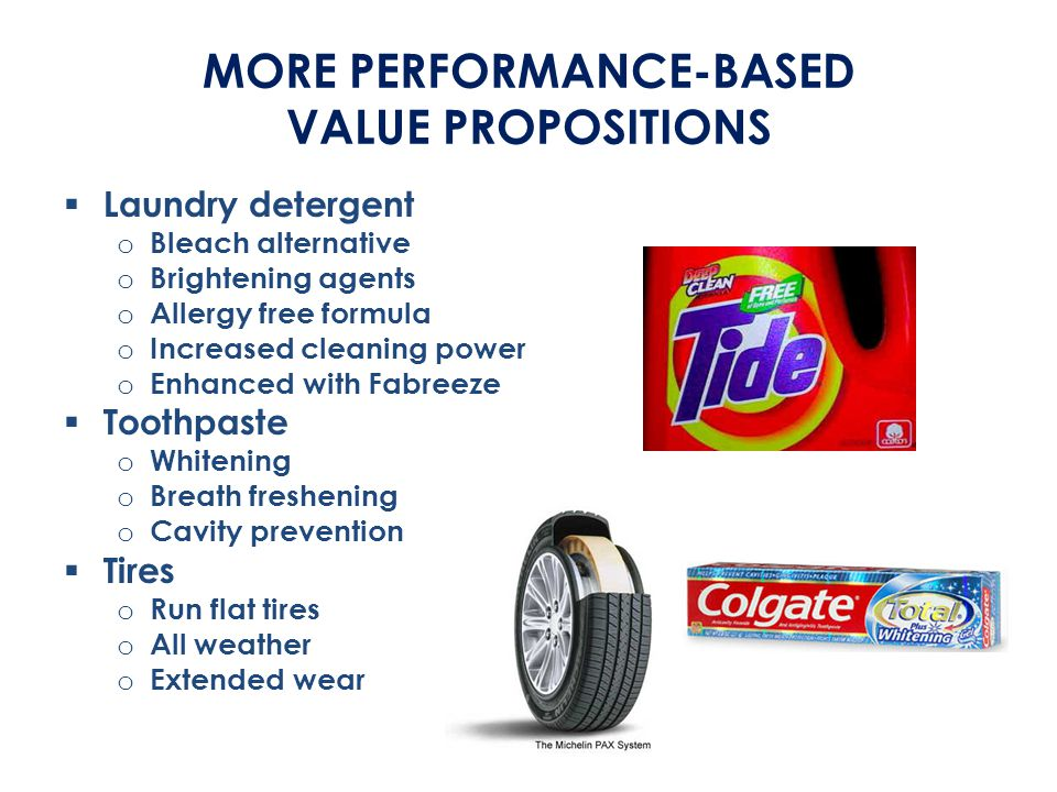 MORE PERFORMANCE-BASED VALUE PROPOSITIONS