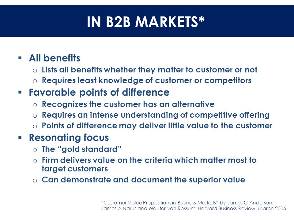IN B2B MARKETS IN B2B MARKETS*