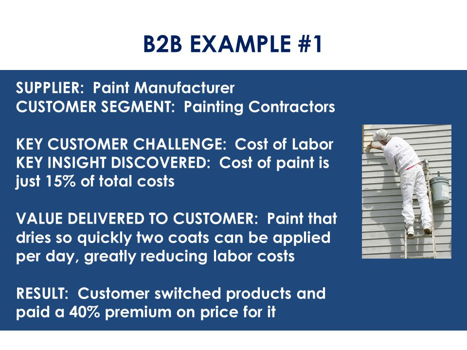 B2B EXAMPLE #1 SUPPLIER: Paint Manufacturer