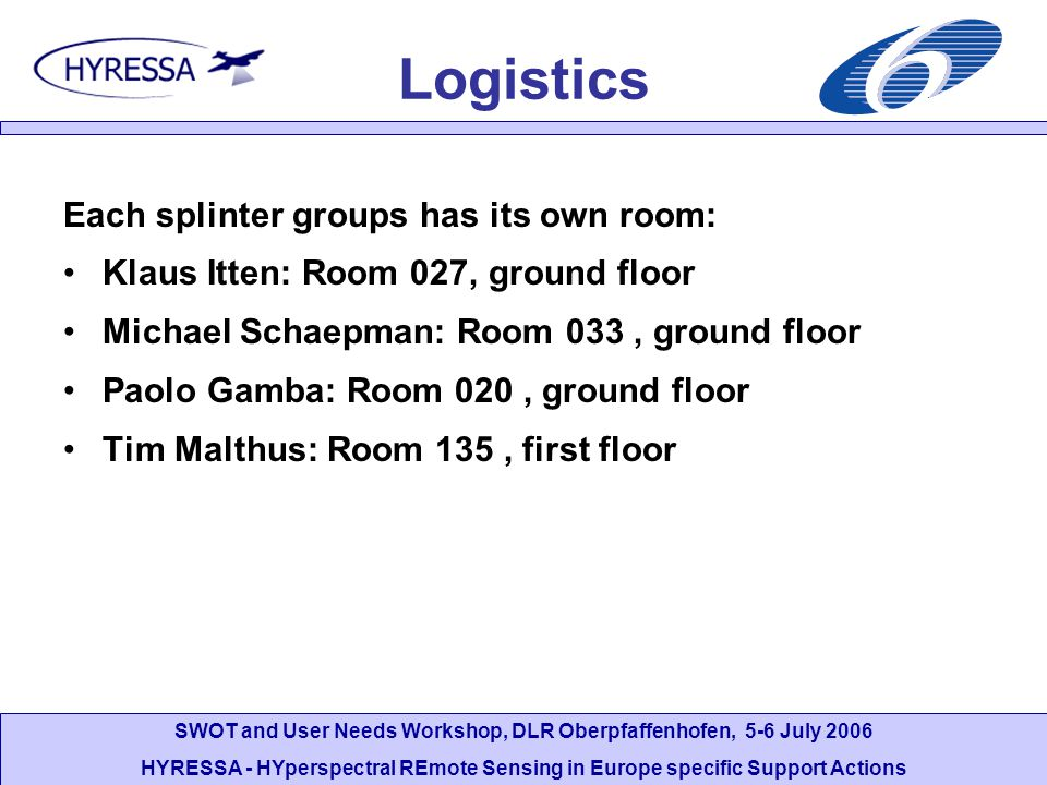 Logistics Each splinter groups has its own room: