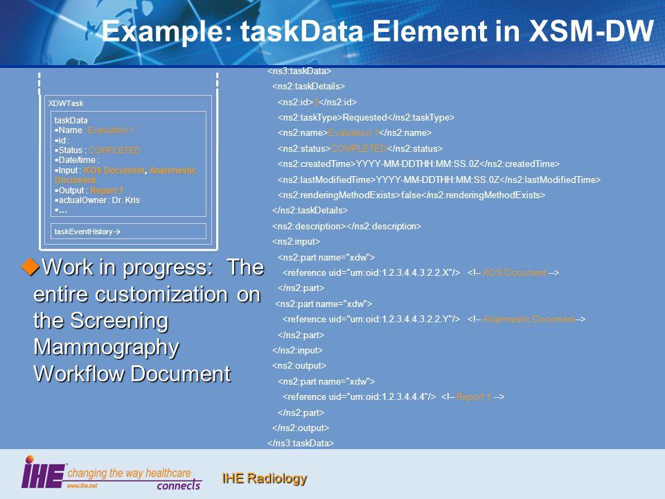 Example: taskData Element in XSM-DW