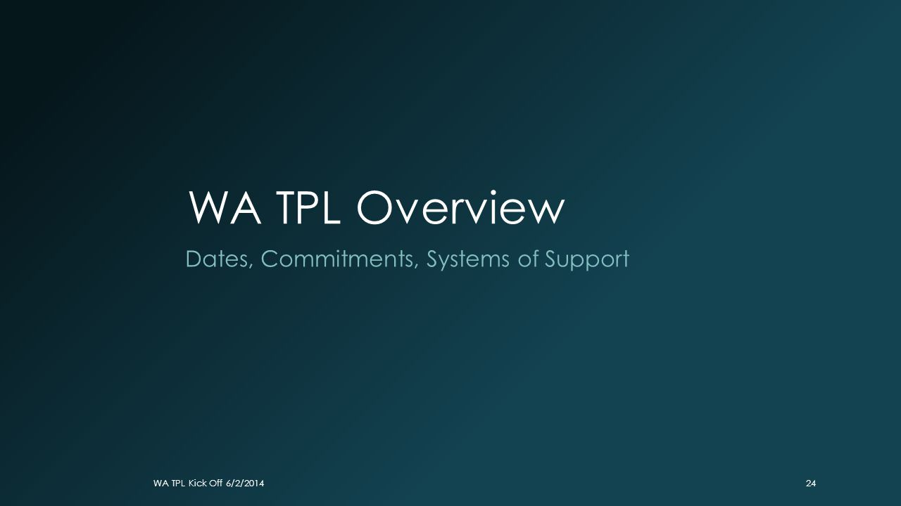 WA TPL Overview Dates, Commitments, Systems of Support