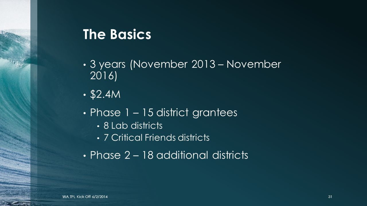 The Basics 3 years (November 2013 – November 2016) $2.4M