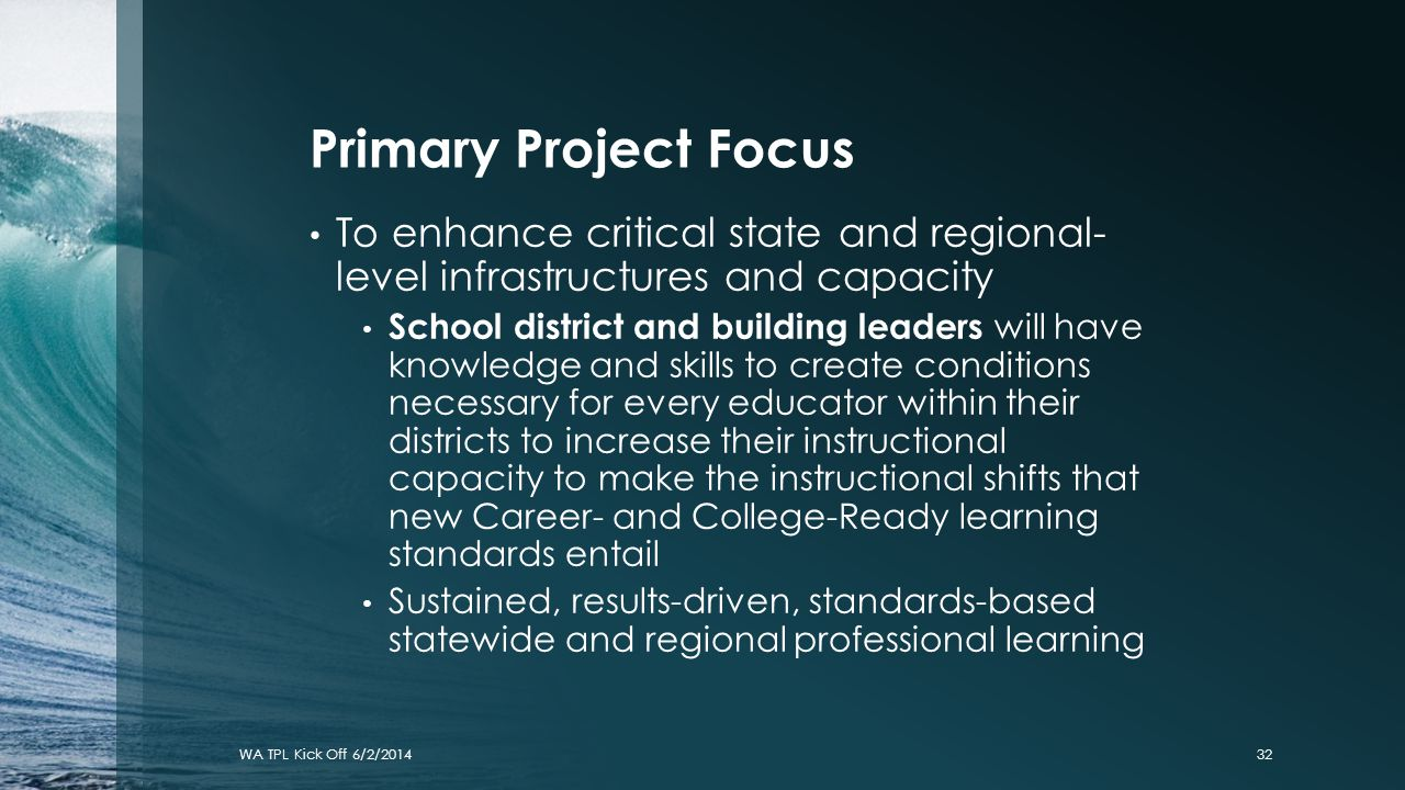 Primary Project Focus To enhance critical state and regional- level infrastructures and capacity.