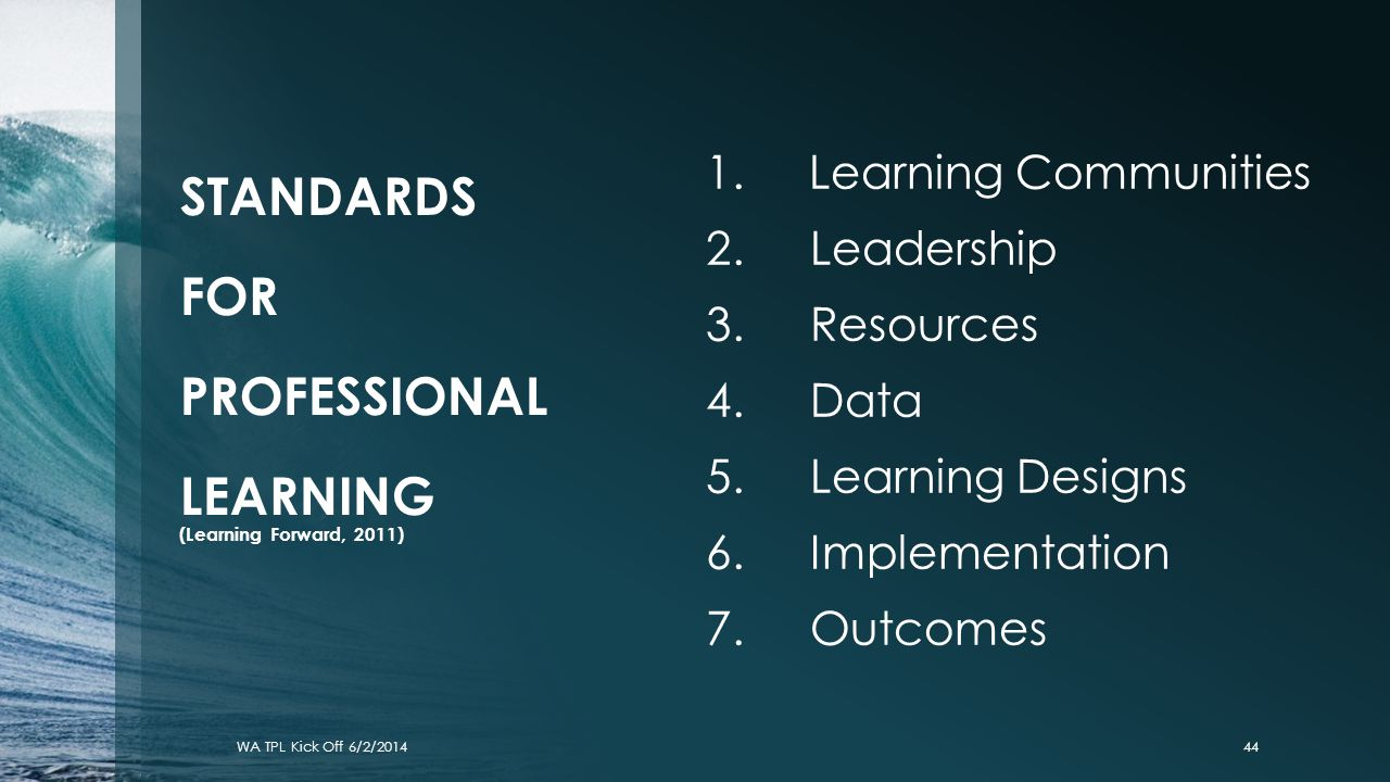 STANDARDS FOR PROFESSIONAL LEARNING (Learning Forward, 2011)