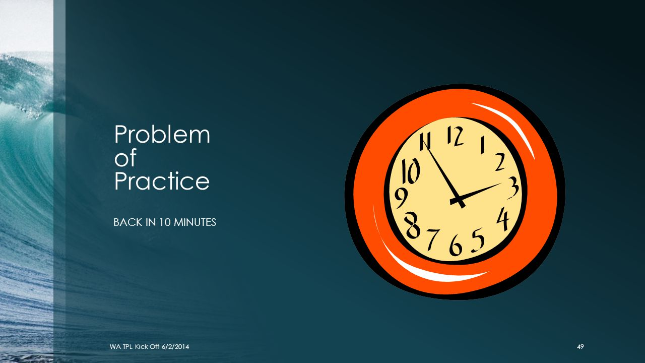 Problem of Practice BACK IN 10 MINUTES