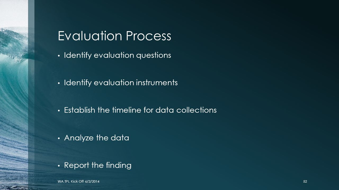 Evaluation Process Identify evaluation questions