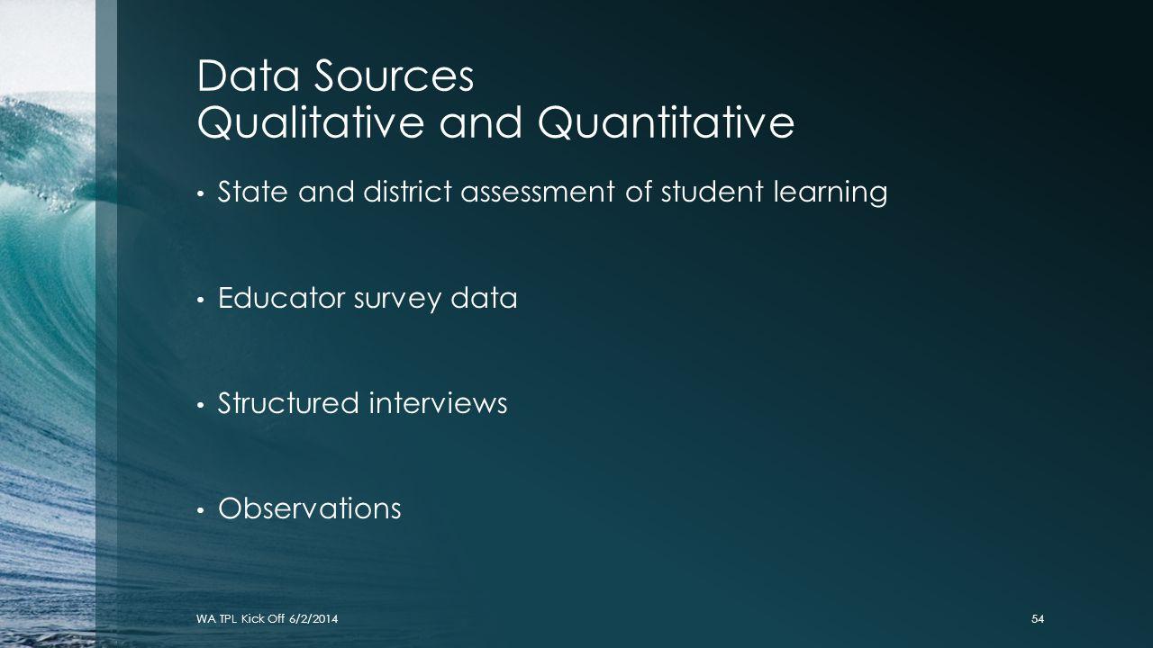 Data Sources Qualitative and Quantitative