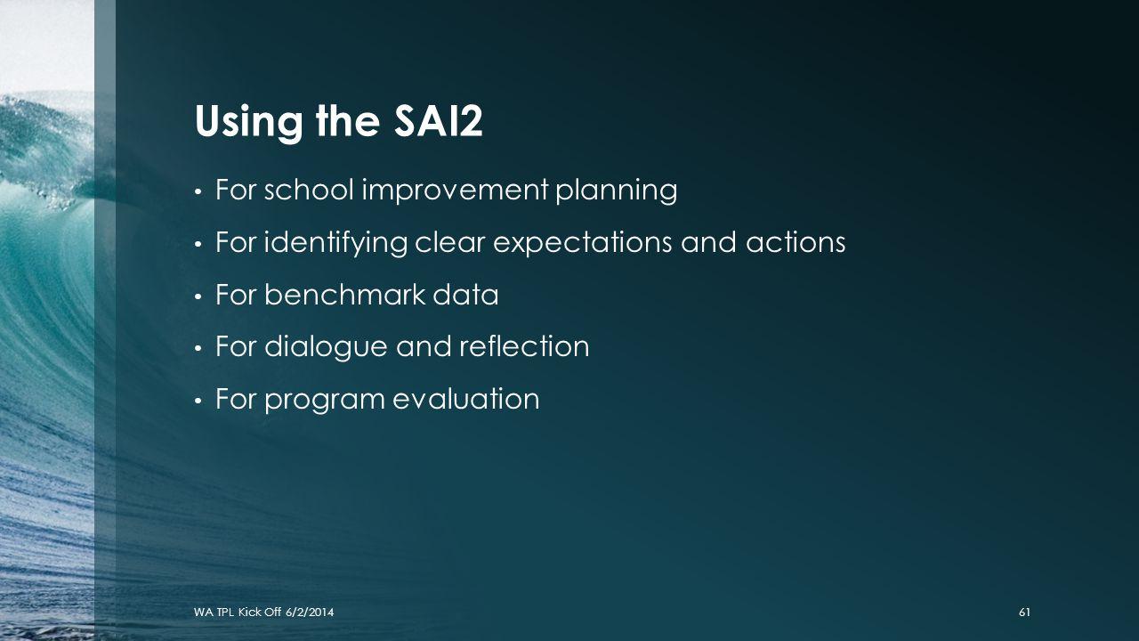 Using the SAI2 For school improvement planning