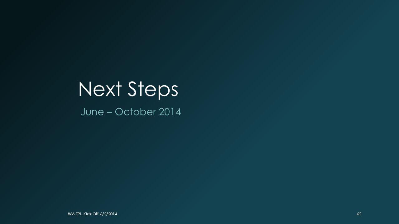 Next Steps June – October 2014 WA TPL Kick Off 6/2/2014