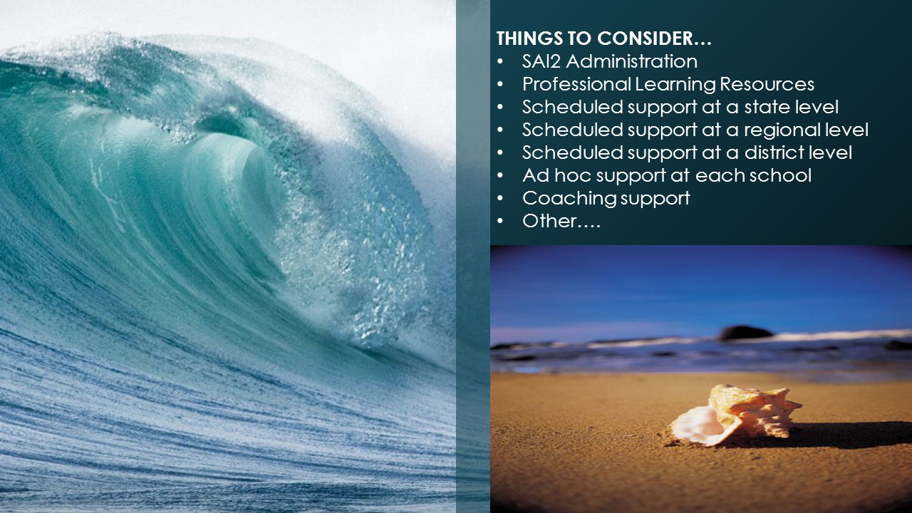 THINGS TO CONSIDER… SAI2 Administration. Professional Learning Resources. Scheduled support at a state level.