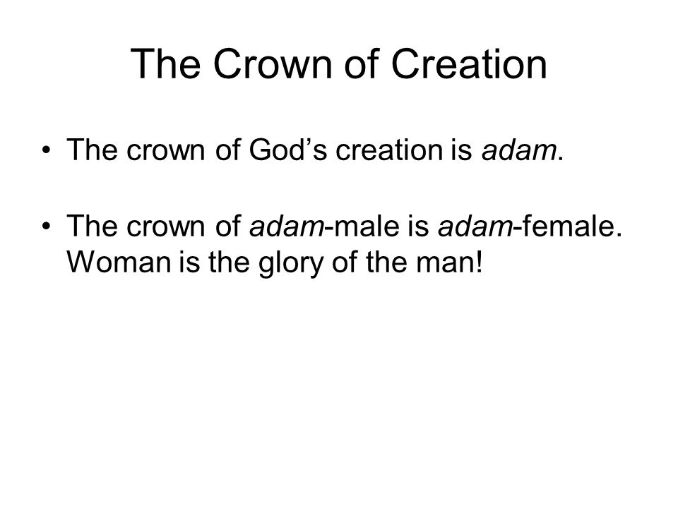 The Crown of Creation The crown of God's creation is adam.