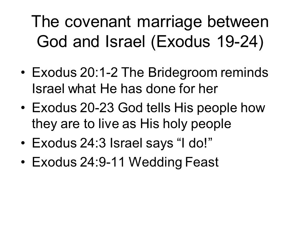 The covenant marriage between God and Israel (Exodus 19-24)