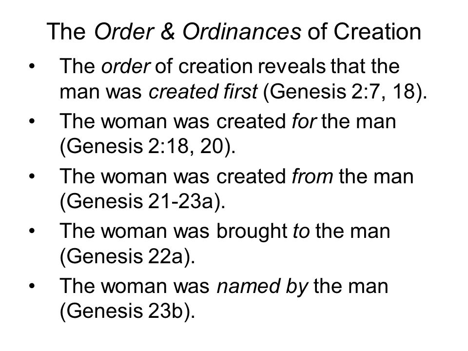 The Order & Ordinances of Creation