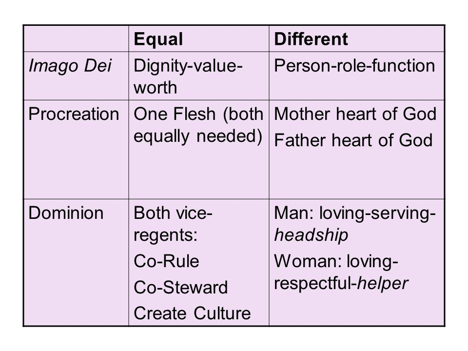 Person-role-function Procreation One Flesh (both equally needed)