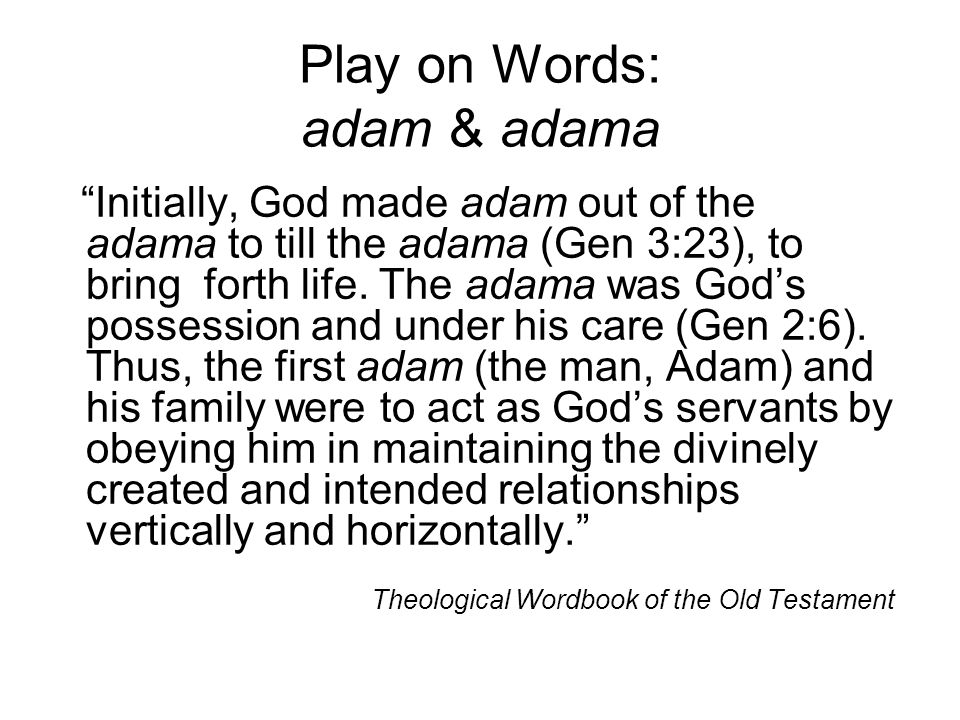 Play on Words: adam & adama